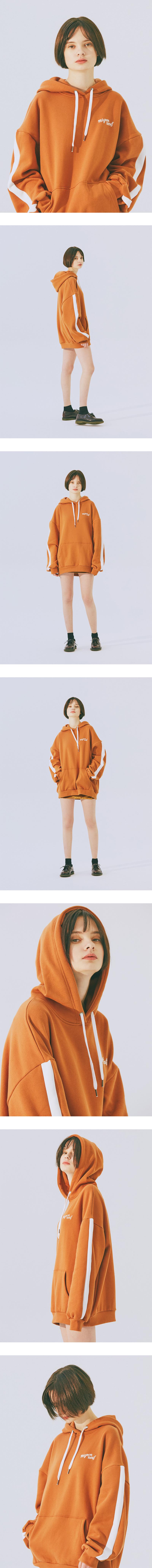 미뇽네프(MIGNONNEUF) N클럽 헤비오버핏 후드티 오렌지브라운_기모