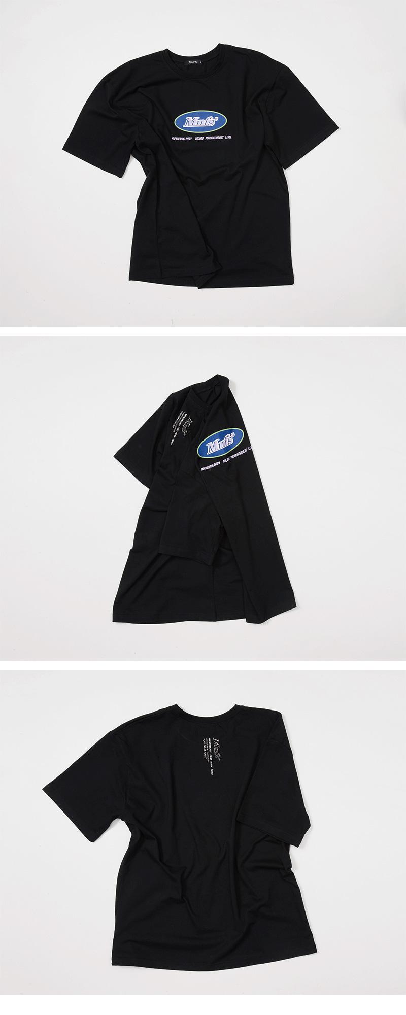 미뇽네프(MIGNONNEUF) 써클로고 오버핏 반팔 티셔츠 블랙