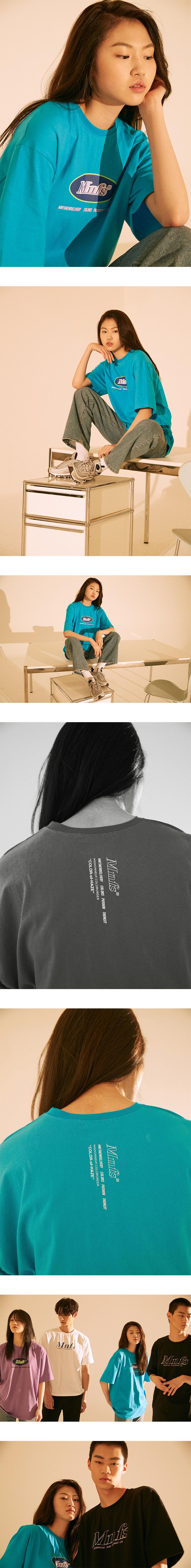 미뇽네프(MIGNONNEUF) 써클로고 오버핏 반팔 티셔츠 아쿠아블루