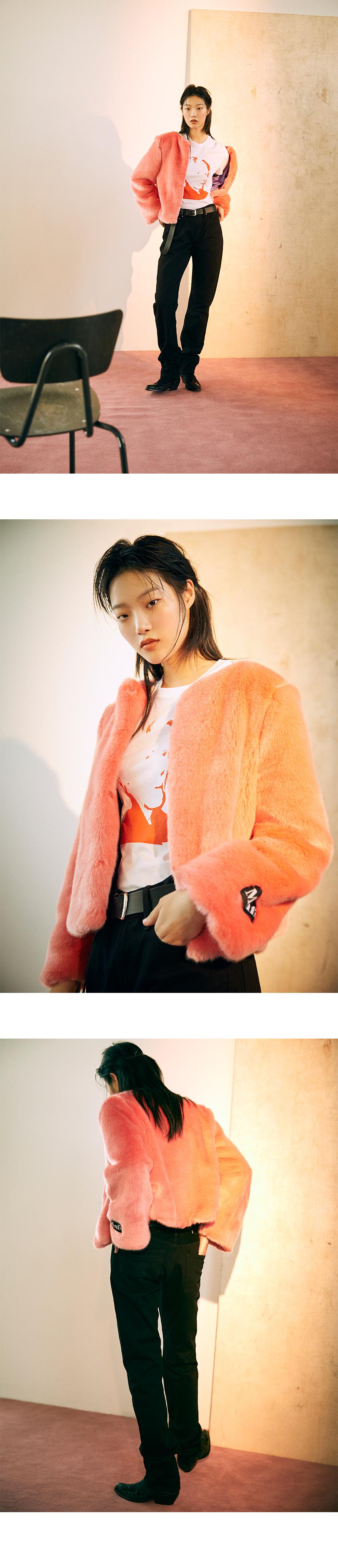 미뇽네프(MIGNONNEUF) 크롭 퍼 자켓 핑크_furjacket peach pink