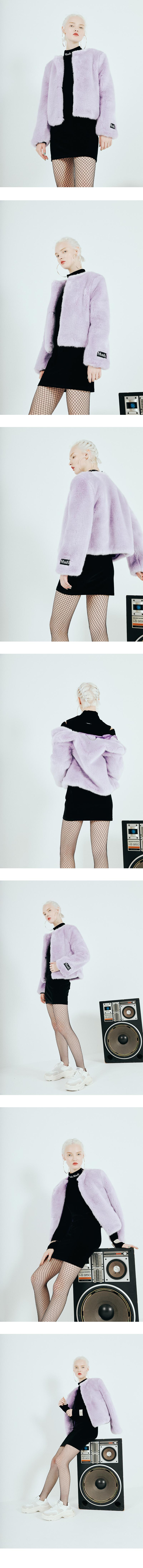 미뇽네프(MIGNONNEUF) 크롭 퍼 자켓 라벤더_furjacket lavender