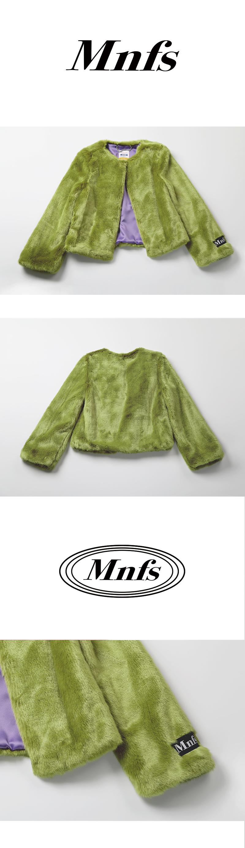 미뇽네프(MIGNONNEUF) 크롭 퍼 자켓 그린_furjacket green
